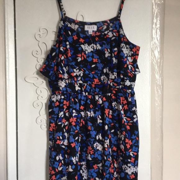 Elle Dresses & Skirts - Blue floral tank overlay dress